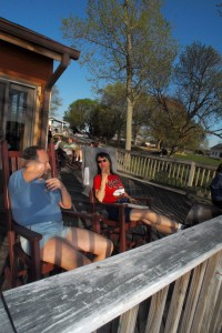 Campers relaxing on the dance hall deck